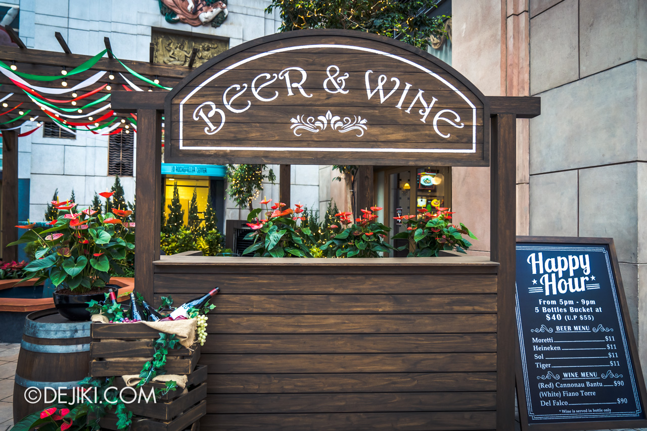 Universal Studios Singapore Park Update Jan 2021 Beer and Wine extension Louis NY Pizza 2