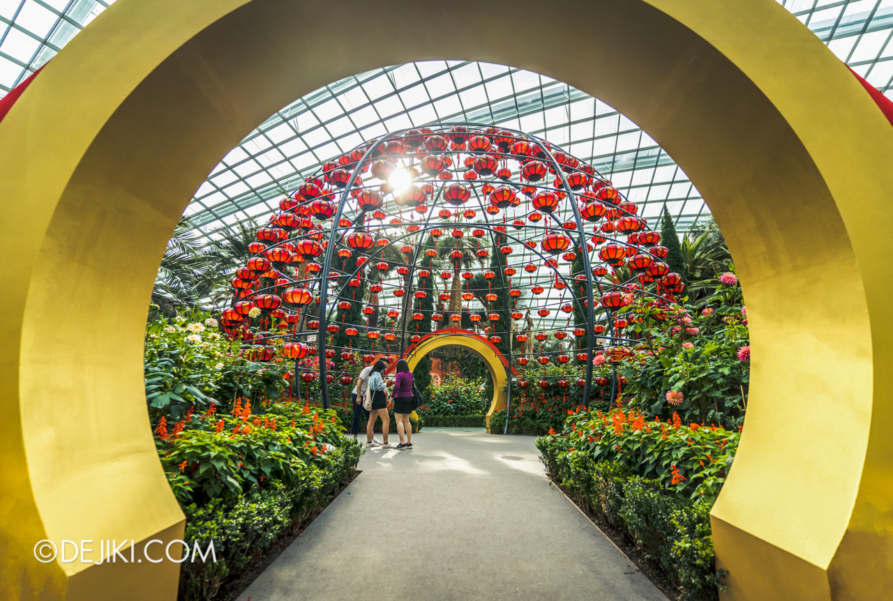 Gardens by the Bay 2021 Dahlia Dreams 5 Flower Field Lantern Globe Dome Golden Moon Gate