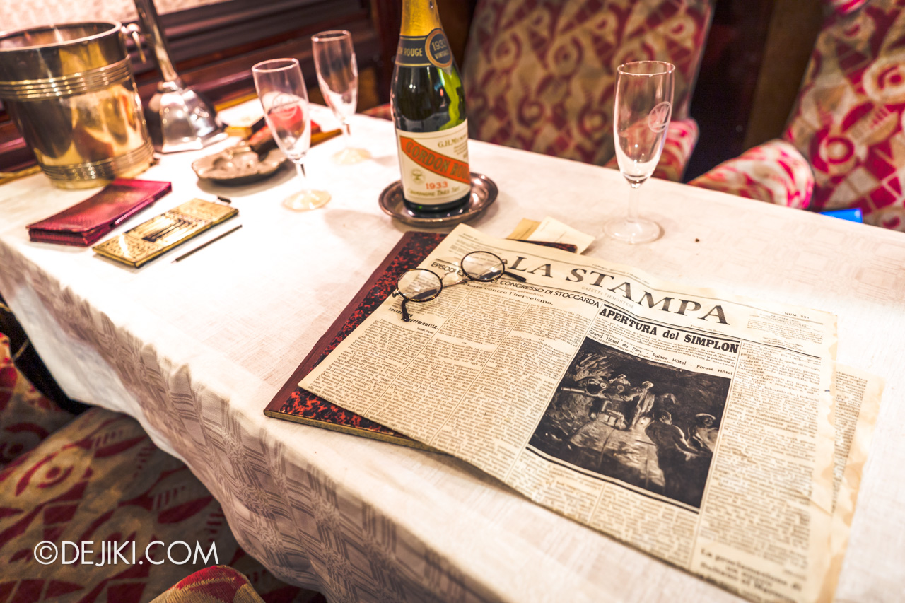 Orient Express Exhibition Singapore 2 First Class Cabin 2 newspapers