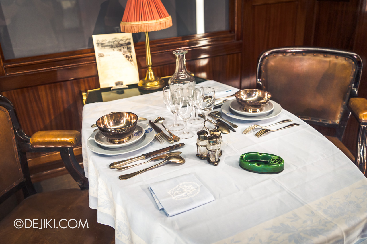 Orient Express Exhibition Singapore 8 train exhibits dining car setting