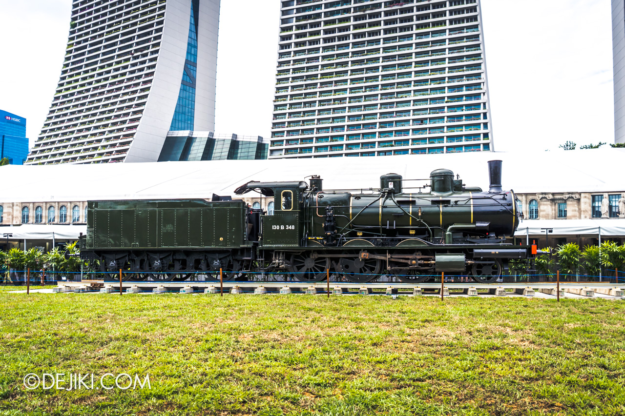 Orient Express Exhibition Singapore Outdoor Train engine far away