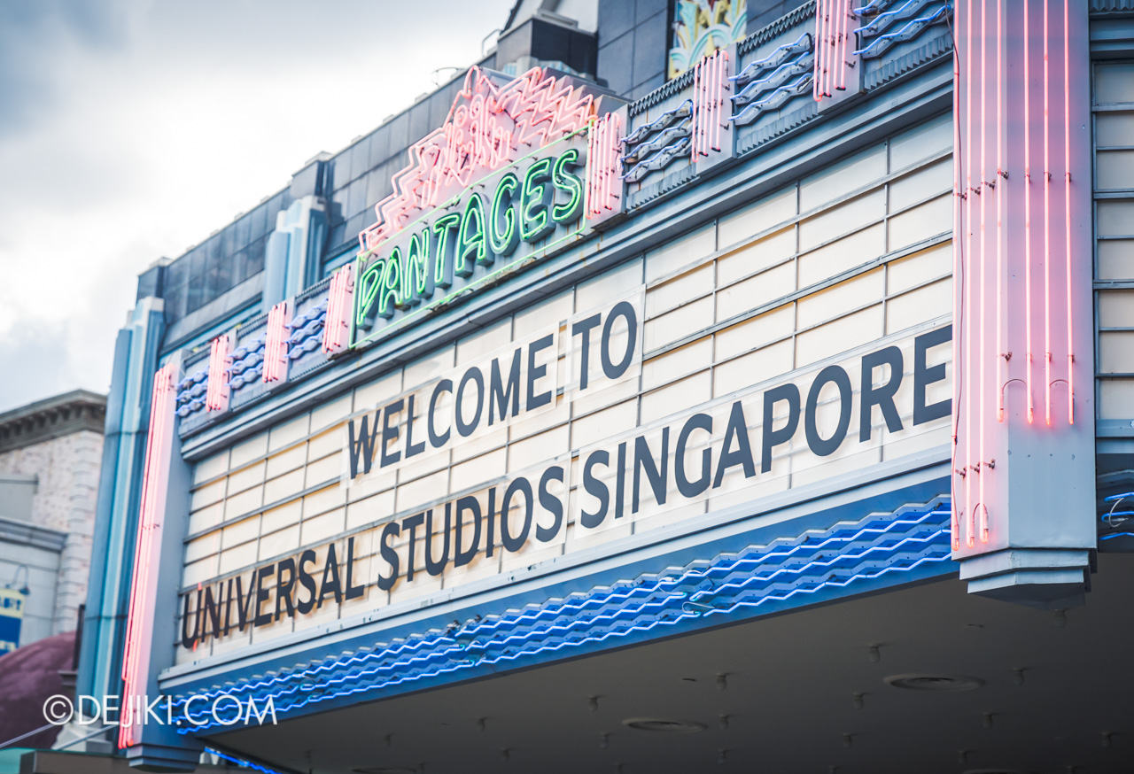 Universal Studios Singapore Park Update March 2021 Tropical Thrills Pantages Hollywood Theater marquee cleared