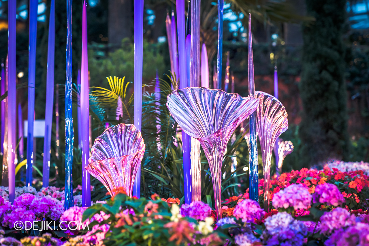 Gardens by the Bay Chihuly in Bloom Flower Dome Closeup Trumpet Flowers Light2