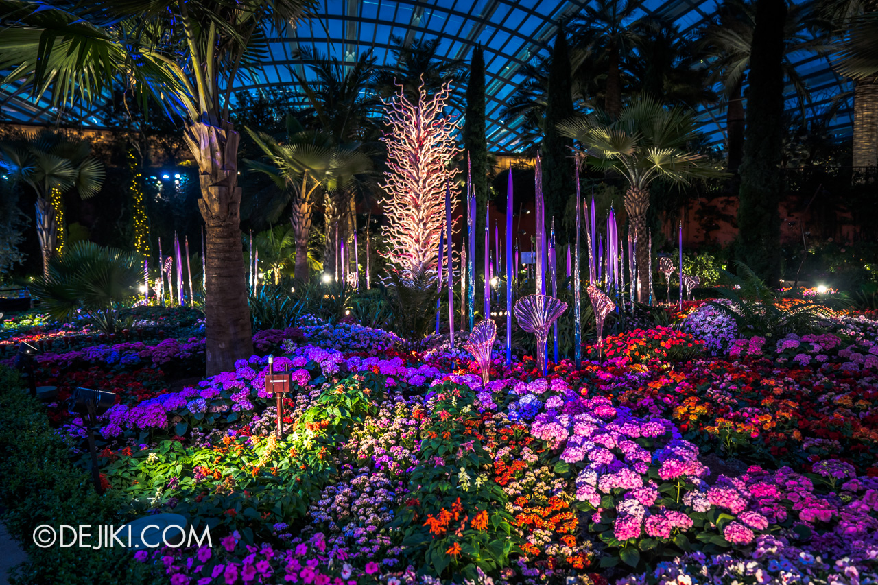 Gardens by the Bay Chihuly in Bloom Flower Dome Reeds and Trumpet Flowers White Tower 2