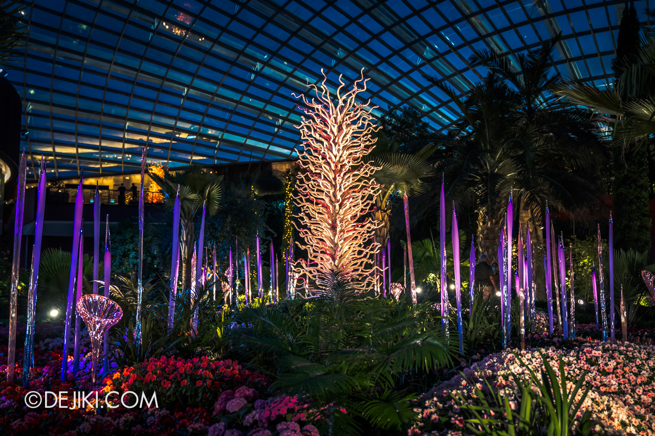 Gardens by the Bay Chihuly in Bloom Flower Dome Reeds and Trumpet Flowers White Tower middle