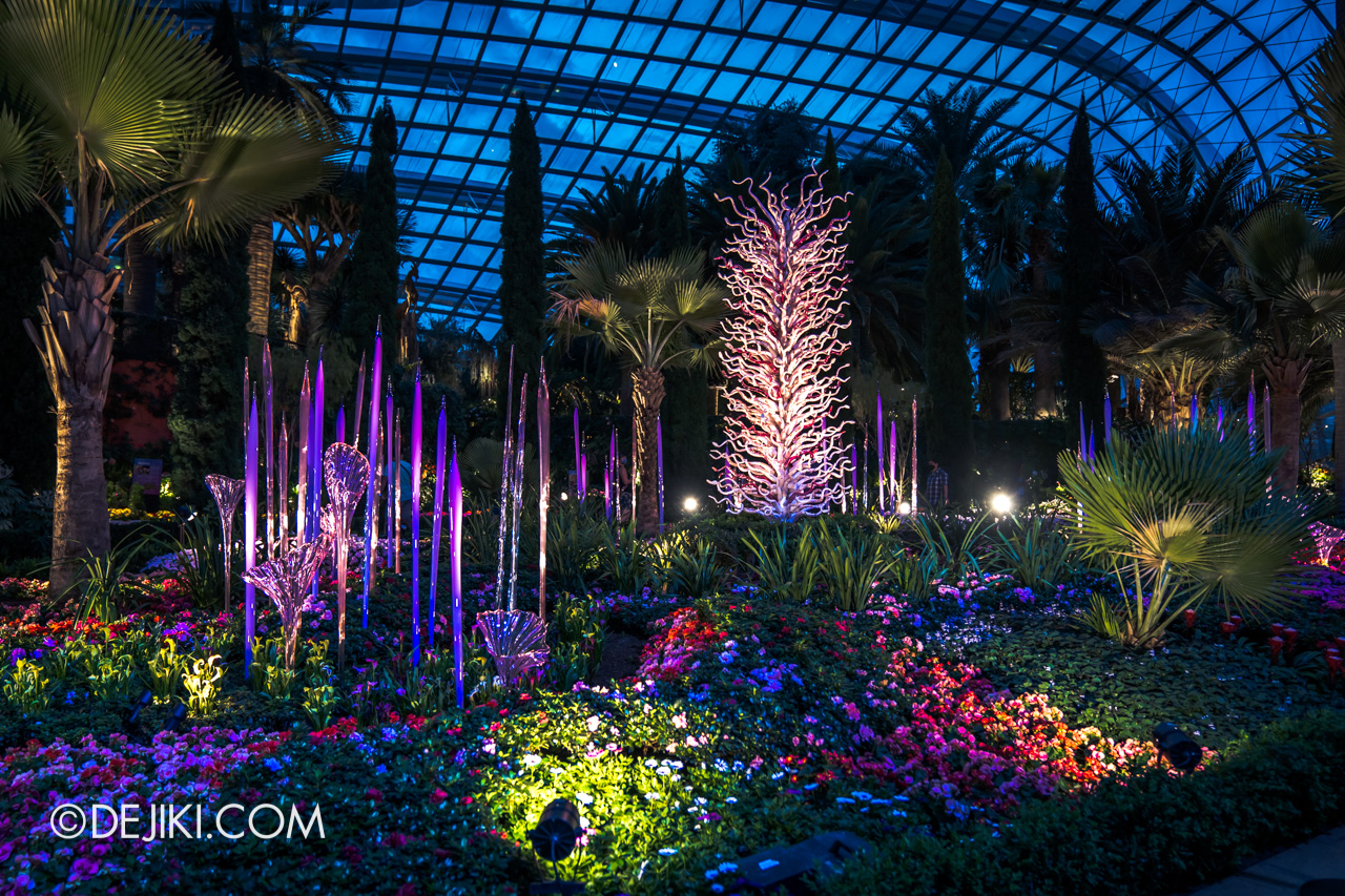 Gardens by the Bay Chihuly in Bloom Flower Dome Reeds and Trumpet Flowers White Tower